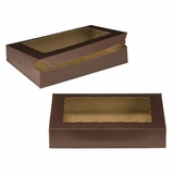 "3240 - 14"" x 10"" x 2 1/2"" Chocolate/Brown with Window, Lock & Tab Box With Lid"