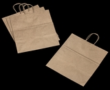 "3250 - Take Out Kraft Shopping Bag with Handle 14"" x 10""x 15 1/2"" - 100ct. A21"
