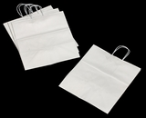 "3251 - Take Out White Shopping Bag with Handle  14"" x 10"" x 15 1/2"" - 100ct"