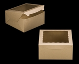 "3257 - 10"" x 10"" x 5"" Brown/Brown with Window, Lock & Tab Box With Lid. A28"