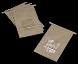 "3266 - 2 LB Kraft/Poly Tin Tie Window Bag 6"" x 2 3/4"" x 9 1/2"""