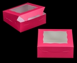 "3272 - 7"" x 7"" x 2 1/2"" Pink/White with Window, Lock & Tab Box with Lid. A12"