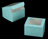 "3273 - 8"" x 8"" x 5"" Diamond Blue/White Lock & Tab Box with Window"