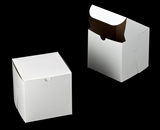 "3276 - 6"" x 6"" x 6"" White/Brown without Window, Lock & Tab Box With Lid. A27"