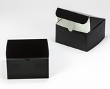"3298 - 7"" x 7"" x 4"" Black/White without Window, Lock & Tab Box with Lid. A18"