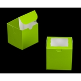 "3300 - 4"" x 4"" x 4"" Lime Green/White Lock & Tab Box with Window"