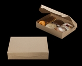 """3339 - 11 1/2"""" x 8 1/4"""" x 2 1/2"""" Brown/Brown Lock & Tab Pastry Box without Window"""
