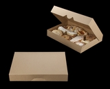"""3344 - 16"""" x 11 1/2"""" x 2 1/2"""" Brown/Brown Timesaver Pastry Box without Window"""
