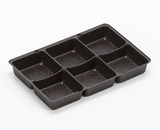 "3359 - 7"" x 4 1/2"" x 7/8"" Chocolate Brown 6 Cavity Candy Tray. B02"