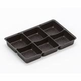 "3359 - 7"" x 4 3/8"" x 7/8"" Chocolate Brown 6 Cavity Candy Tray"