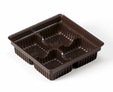 "3360 - 4"" x 4"" x 1 1/16"" Chocolate Brown 4 Cavity Candy Tray. B01"