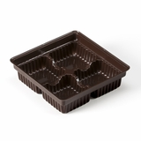 "3360 - 4"" x 4"" x 1 1/16"" Chocolate Brown 4 Cavity Candy Tray"