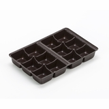 "3361 - 7"" x 4 3/8"" x 7/8"" Chocolate Brown 12 Cavity Candy Tray"