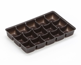 "3362 - 7"" x 4 3/8"" x 7/8"" Chocolate Brown 15 Cavity Candy Tray"