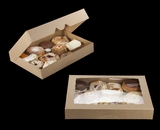 """3368 - 16"""" x 11 1/2"""" x 2 1/2"""" Brown/Brown Timesaver Pastry Box with Window"""