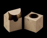 "3371 - 2 1/2"" x 2 1/2"" x 2 1/2"" Brown/Brown with Window, Lock & Tab Box With Lid. B03"
