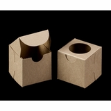 "3371 - 2 1/2"" x 2 1/2"" x 2 1/2"" Brown/Brown with Window, Lock & Tab Box With Lid"