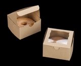 "3372 - 4"" x 4"" x 2 1/2"" Brown/Brown Lock & Tab Individual Donut Box with Window"