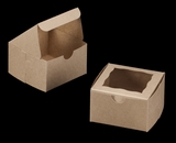 "3372 - 4"" x 4"" x 2 1/2"" Brown/Brown with Window, Lock & Tab Box With Lid. B05"