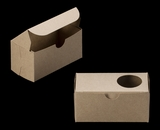 "3376 - 5"" x 2 1/2"" x 2 1/2"" Brown/Brown with Window, One Piece Lock & Tab Box With Lid. B05"