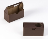 "3386 - 5"" x 2 1/2"" x 2 1/2"" Chocolate Brown/Brown with Window, One Piece Lock & Tab Box With Lid"