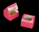 "3388 - 4"" x 4"" x 2 1/2"" Pink/White Lock & Tab Pastry Box with Window"