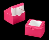 "3388 - 4"" x 4"" x 2 1/2"" Pink/White Lock & Tab Box with Window"