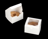 "3389 - 4"" x 4"" x 2 1/2"" White/White Lock & Tab Pastry Box with Window"