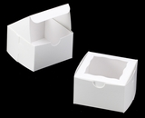 "3389 - 4"" x 4"" x 2 1/2"" White/White with Window, Lock & Tab Box With Lid. B07"