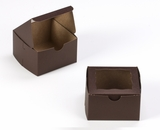 "3390 - 4"" x 4"" x 2 1/2"" Chocolate/Brown with Window, Lock & Tab Box With Lid. B06"