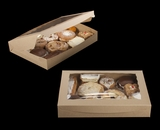 """3392 - 16"""" x 11 1/2"""" x 2 1/2"""" Brown/Brown Lock & Tab Pastry with Window"""
