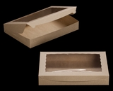 "3392 - 16"" x 11 1/2"" x 2 1/2"" Brown/Brown Lock & Tab Box with Window"
