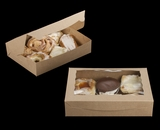 """3393 - 11 1/2"""" x 8 1/4"""" x 2 1/2"""" Brown/Brown Lock & Tab Pastry Box with Window"""
