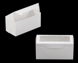 "3396 - 8"" x 4"" x 4"" White/White with Window, One Piece Lock & Tab Box With Lid. A13"