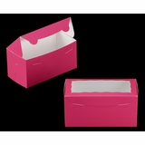 "3397 - 8"" x 4"" x 4"" Pink/White Lock & Tab Box with Window"
