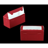 "3398 - 8"" x 4"" x 4"" Red/White with Window, One Piece Lock & Tab Box With Lid"