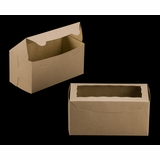 "3399 - 8"" x 4"" x 4"" Brown/Brown Lock & Tab Box with Window"