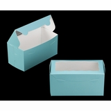 "3400 - 8"" x 4"" x 4"" Diamond Blue/White Lock & Tab Box with Window"
