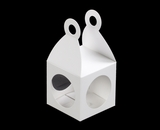 "3405 - 2 3/4"" x 2 3/4"" x 2 3/4"" Lantern Favor Box White/White with Window, Snap Lock Bottom"
