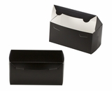 "3411 - 8"" x 4"" x 4"" Black/White without Window, One Piece Lock & Tab Box With Lid. A13"