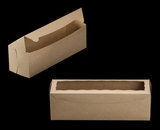 "3421 - 13"" x 4"" x 4"" Brown/Brown with Window, One Piece Lock & Tab Box With Lid. A14"