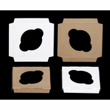 "3434 - 4"" x 4"" x 1/2""  Single Stumpy Standard Cupcake Insert, Reversible White/Brown"