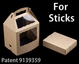 "3436x3435 - 8 1/2"" x 6"" x 8"" Brown/Brown Cake Pop Box Set for Sticks, 50 COUNT. C08xC09"
