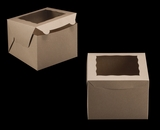 "3437 - 8"" x 8"" x 6"" Brown/Brown with Window, Lock & Tab Box With Lid. A22"