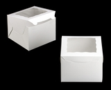 "3438 - 8"" x 8"" x 6"" White/White with Window, Lock & Tab Box With Lid. A26"