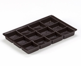 "3441 - 9 1/2"" x 6"" x 15/16"" Chocolate Brown 12 Cavity, Candy Tray. D03"