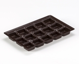 "3442 - 9 1/2"" x 6"" x 15/16"" Chocolate Brown 15 Cavity, Candy Tray. D03"
