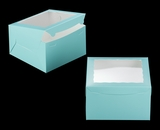 "3468 - 10"" x 10"" x 6"" Diamond Blue/White Lock & Tab Box with Window"