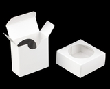 "3483 - 2 1/4"" x 2 1/4"" x 1"" White/White Favor Box with Window"