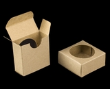 "3490 - 2 1/4"" x 2 1/4"" x 1"" Brown/Brown, Favor Box with window. B02"